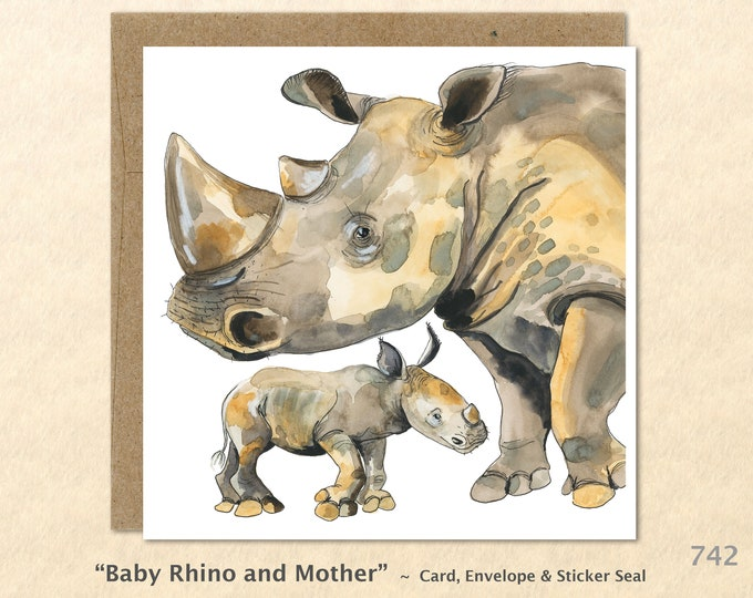 Baby Rhino and Mother Note Card Rhino Card, Rhinoceros Card African Animal Card Wildlife Card, Blank Note Card, Art Cards, Greeting Cards