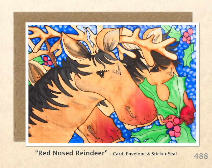 Red Nosed Reindeer Christmas Card Holly Note Card Blank Watercolor Card Art Card Note Card Fun Christmas Cards