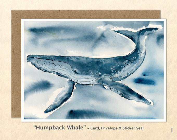 Humpback Whale Note Card, Whale Cards, Blank Note Card, Art Cards, Greeting Cards