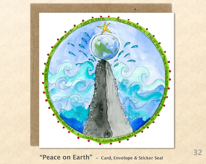 Christmas Card Peace on Earth Whale and Earth Card Blank Note Card Art Card Greeting Card Watercolor Card Holiday Card