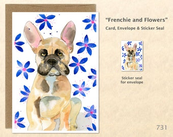 French Bulldog and Purple Flowers Note Card Dog Card Customizable Blank Note Card Watercolor Art Greeting Card