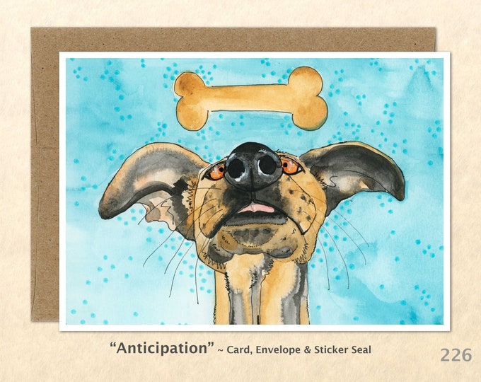 Dog and Bone Note Card, Fun Dog Cards, Cute Animals, Blank Note Card, Art Cards, Greeting Cards