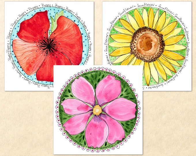 3 Floral Card Set, Pick from 9 Flowers, Flower Cards, Garden Cards, Gardening Cards, Poppy, Cosmos, Sunflower, Daisy, Lily, Aster, Art Cards