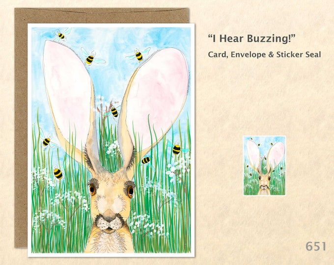 Rabbit Note Card, Hare Note Card, Bunny Card, Blank Note Card, Art Cards, Greeting Cards