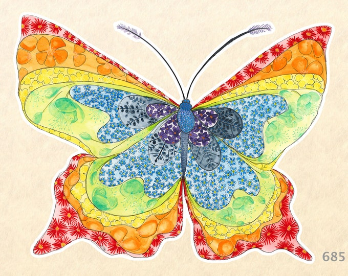 Rainbow Butterfly Stickers, Garden Stickers, Decorative Stickers, Water Bottle Stickers, Scrapbooking Stickers, Macbook Decal