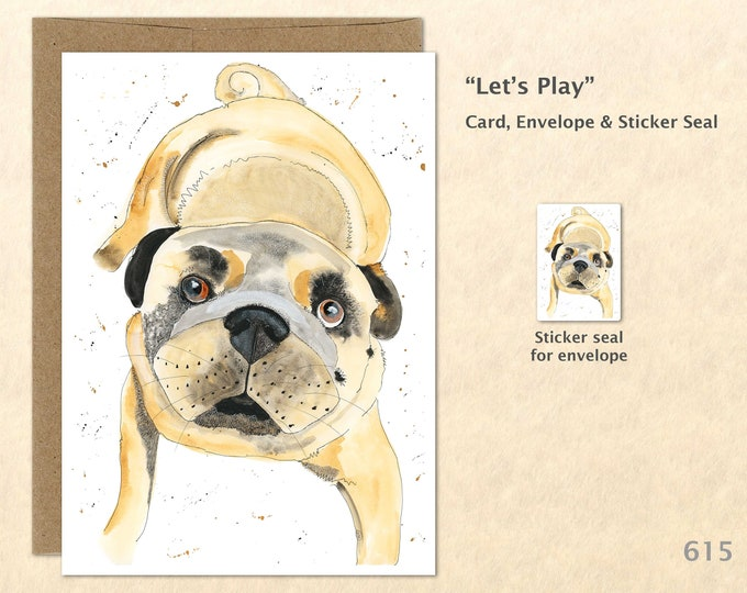 Playful Pug Dog Note Card, Cute Dogs, Dog Cards, Fun Animals, Blank Note Card, Art Cards, Greeting Cards