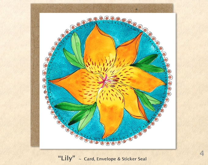 Flower Cards, Lily Cards, Golden Flower Cards, Yellow Flower Cards, Gardening Cards, Floral Cards , Art Cards, Greeting Cards