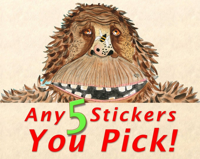 Sticker Pack - Choose Any 5 Stickers, Fun Stickers, Cute Stickers, Wildlife Stickers, You Pick