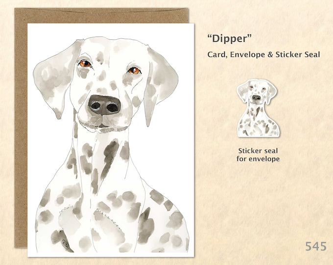 Dalmation Note Card Dog Greeting Card Dalmation Art Watercolor Card Customizable Blank Note Card Dog Lovers Gift