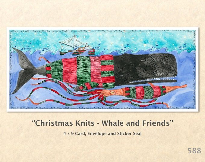 Christmas Card Whale and Friends Dressed for Christmas Note Card Blank Watercolor Card Art Card Note Card Squid Boat