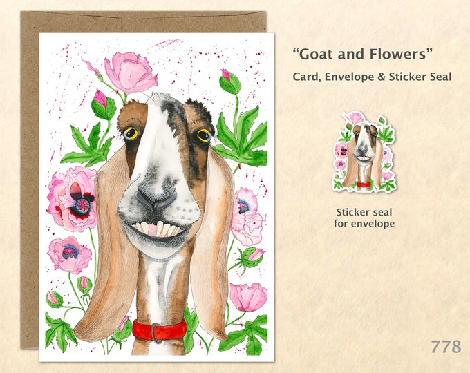 Goat and Pink Flowers Card Goat Card Goofy Goat Farm Card Floral Card Flower Card Farm Animal Card Blank Note Card Art Card Greeting Card