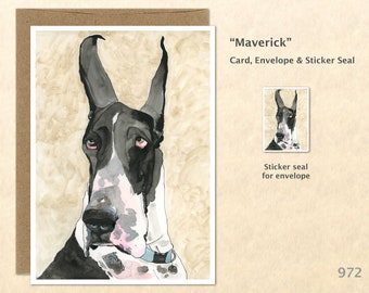 Great Dane Greeting Card Dog Card Customizable Blank Note Card Watercolor Art Greeting Card
