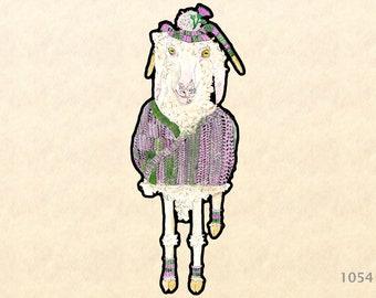 Angora Goat Wearing a Wool Sweater, Socks and Hat Sticker Water Bottle Sticker Shiny Sticker Scrapbooking Sticker Macbook Pro Touchpad Decal