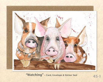 Three Pigs Note Card, Pig Cards, Farm Cards, Farm Animals, Blank Note Card, Art Cards, Greeting Cards
