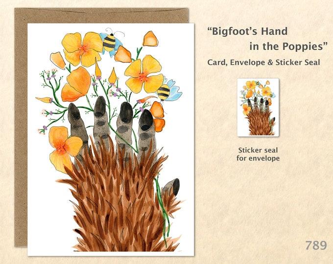 Bigfoot Card Flower Card Poppy Card Poppy Card Flower Card Floral Card Friendship Card Blank Card Art Card Greeting Card