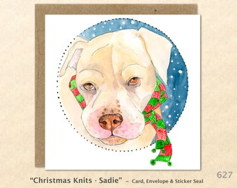 Dog in the Snow Wearing a Christmas Scarf Christmas Card Card Blank Note Card Art Card Greeting Card Watercolor Card Holiday Card