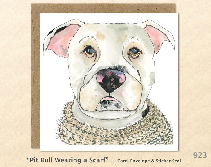 Pit Bull Wearing a Scarf Note Card Cute Dog Card Customizable Blank Note Card Art Card Greeting Card Watercolor