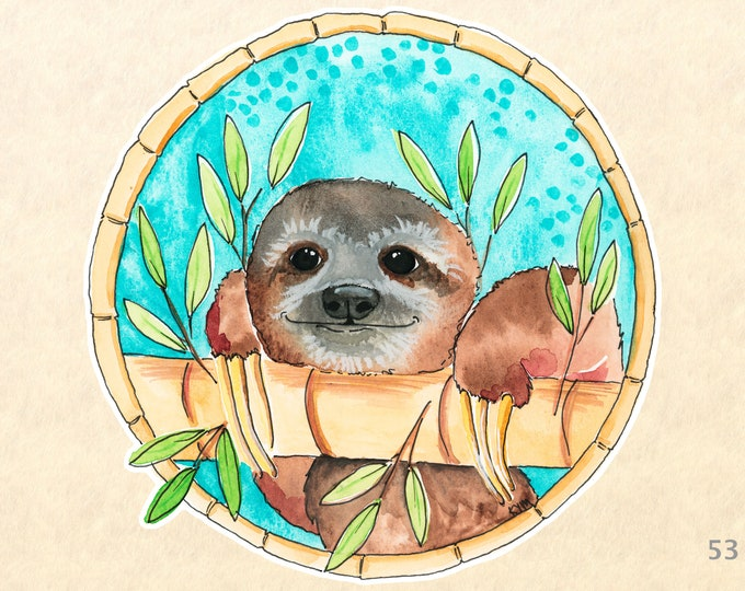 Baby Sloth and Bamboo Sticker Cute Animal Sticker Wildlife Sticker Scrapbook Sticker Watercolor Art Sticker Decal