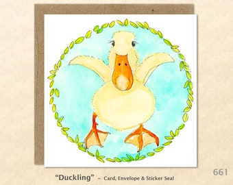 Cute Duckling Note Card Easter Card Baby Duck Card Customizable Blank Greeting Card Watercolor Art Card