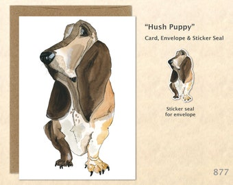 Basset Hound Note Card Hush Puppy Card Dog Cards Cute Dog Cards Blank Note Card Art Cards Greeting Cards Watercolor Cards