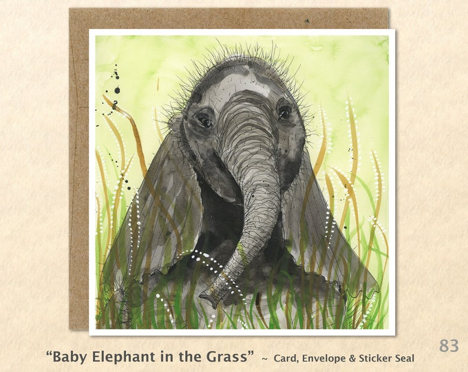 Baby Elephant Note Card, Elephant Cards, Baby Animal Cards, Blank Note Card, Art Cards, Greeting Cards