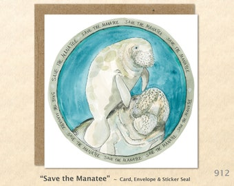 Save the Manatee Note Card Eco Card Customizable Blank Note Card Watercolor Art Cards Greeting Cards