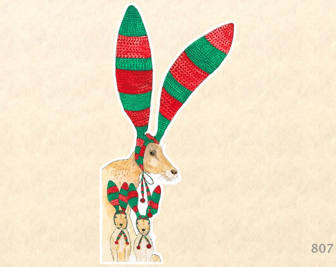 Christmas Hare and Family Sticker Gift Wrapping Sticker Laptop Stickers Water Bottle Stickers Scrapbook Stickers