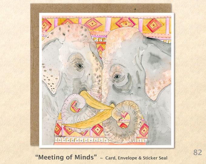 Elephant Friends Note Card Elephant Greeting Card Blank Note Card Art Card Greeting Cards Watercolor Art Card