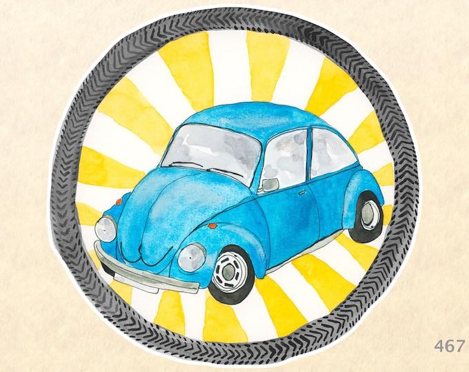 VW Stickers, Blue VW, Car Stickers, VW Bug Sticker, Fun Car Stickers, Water Bottle Stickers, Scrapbook Stickers