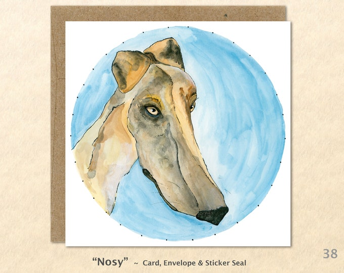 Hound Dog Card Dog Card Dog Greeting Cards Fun Dog Cards Blank Note Cards Art Cards, Square