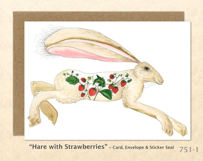 Hare and Strawberries Card Rabbit Card Bunny Card Farm Card Blank Note Card, Wildlife Card Cute Cards Art Cards, Greeting Cards