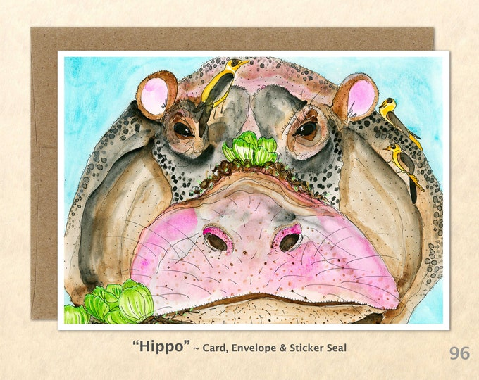 Hippopotamus  Note Card, Hippo Cards, African Animal Cards, Blank Note Card, Art Cards, Greeting Cards