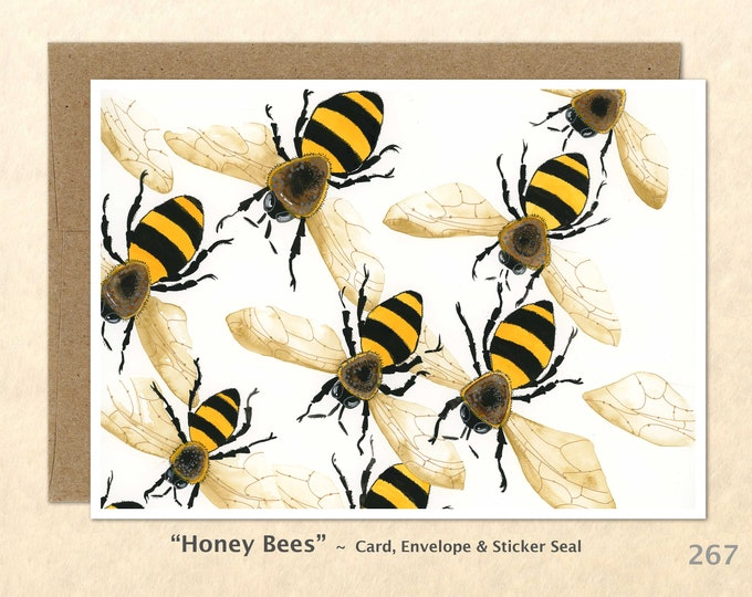 Honey Bees Note Card, Garden Cards, Gardening Cards, Bug Cards, Bee Cards, Blank Note Card, Art Cards, Greeting Cards