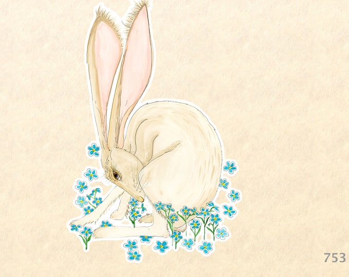 Hare and Blue Flowers Sticker Rabbit Sticker Bunny Sticker Decorative Sticker Water Bottle Sticker Scrapbooking Sticker Macbook Decal
