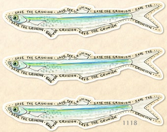 Save the Grunion Fish Stickers Pack of 3 Eco Stickers