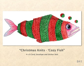 Christmas Card Cozy Fish Dressed for Christmas Note Card Blank Watercolor Card Art Card Note Card