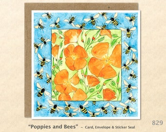 Poppies and Bees Note Card California Poppies Honey Bees Flower Card Floral Card Garden Card Custom Blank Note Card Watercolor Art Card