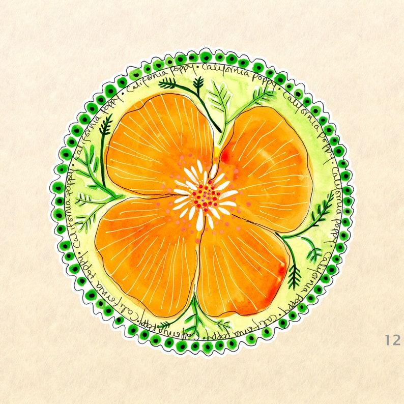 Flower Stickers Poppy Stickers Garden Stickers Floral image 0