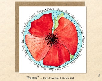 Flower Cards, Poppy Cards, Garden Cards, Floral Cards, Red Flower Cards, Blank Note Card, Art Cards, Greeting Cards