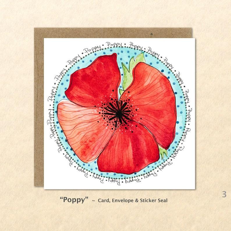 Flower Cards Poppy Cards Garden Cards Floral Cards Red image 0