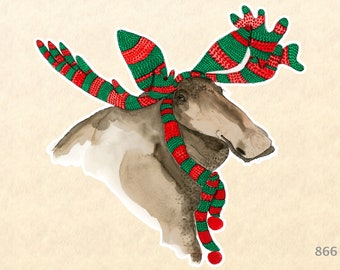 Moose Dressed for Christmas Sticker Gift Wrapping Sticker Laptop Stickers Water Bottle Stickers Scrapbook Stickers
