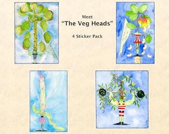 Veg Heads, Wacky Stickers, Food Stickers, Garden Stickers, Silly Stickers, Goofy Stickers, Scrapbook Stickers, Macbook Decal
