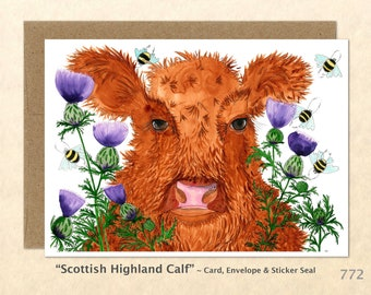 Scottish Highland Calf in the Thistles Cow and Flowers Card Watercolor Art Card Customizable Blank Greeting Card