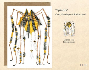 Spindra the Spider Dressed for Halloween Card Customizable Watercolor Art Card Blank Note Card