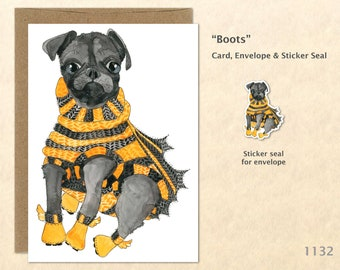 Puppy Dressed and Ready for Halloween Card Customizable Watercolor Art Card Blank Note Card