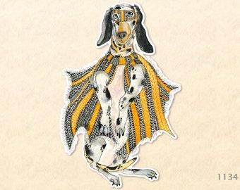 Caped Crusader Hound Dog Dressed for Halloween Sticker