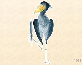 Shoebill Stork Sticker Bird Sticker Watercolor Art Water Bottle Sticker Scrapbook Sticker