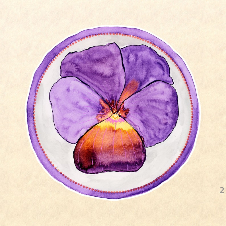Periwinkle Flower Stickers Purple Flower Stickers Floral image 0