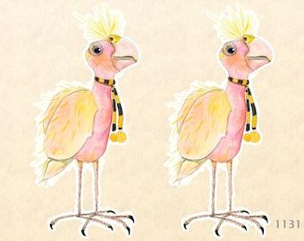 Cutie Pie Bird wants to go Trick or Treating in her Halloween Scarf 2 Sticker Pack