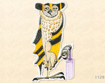 Owl with Bag of Tricks Dressed for Halloween Sticker